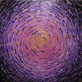 Peinture au couteau : Éclat de couleur or violet.