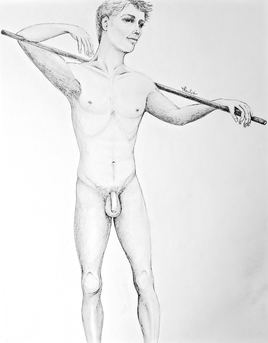 Dessin Homme nu debout Cyril / Drawing A standing naked man Cyril