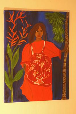Jeune fille kanak à la robe rouge