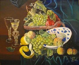 coupes de fruits et verres de cristal