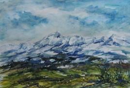 La chaîne des Pyrénées vue de la plaine de TARBES