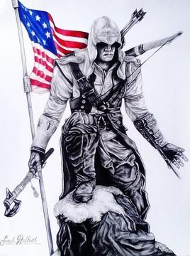 Dessin assassin au fusain et drapeau américain au crayons de couleurs