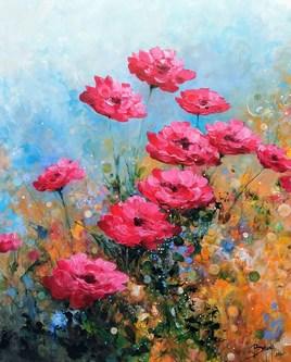 Les roses du jardin - ©Bruni Eric. Tous droits réservés - Tableau peinture