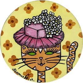 Art naïf Portrait de chat en chapeau pâquerettes