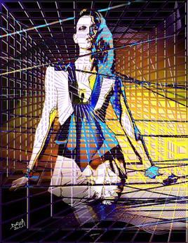 Katie Kloss en cage