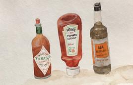 Tabasco, ketchup et Worchester