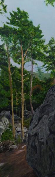 Rocher et pins peint