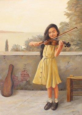 Josette avec son violon