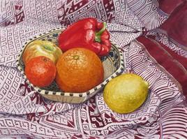 Aquarelle Plat Oriental et ses fruits