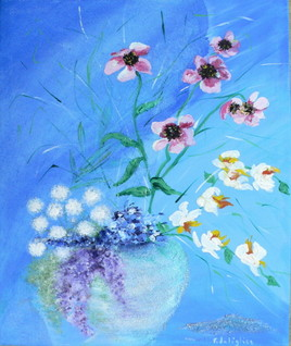 fleurs et tulle bleus