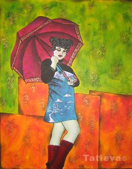 Demoiselle sous la pluie