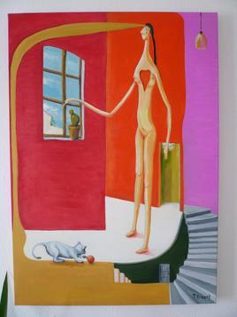 Peinture la femme au chat et au cactus
