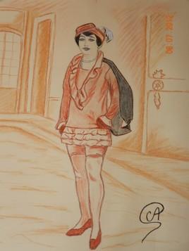 Portrait de femme - Sanguine