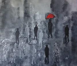 L'homme au parapluie rouge