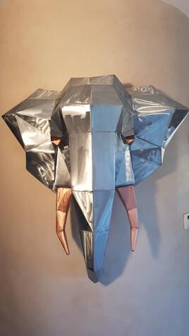 Sculpture tête d éléphant zinc et cuivre