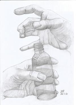 La bouteil entre les mains