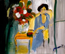 Une dame un vase