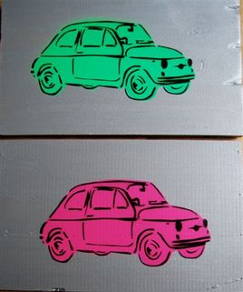 Fiat 500 - verte ou rose - 36.2 x 22 cm