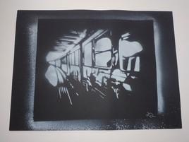 métro en spray - blanc sur noir