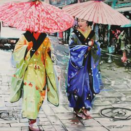 2 geishas ombrelles roses