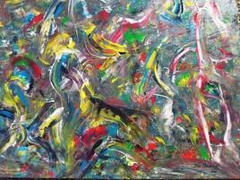 ELIE BERNARD ACRYLIQUE ORIGINALE SUR TOILE 88X90 ART ABSTRAIT