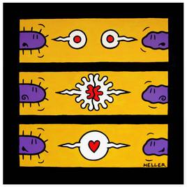 Amour naissant sur fond jaune