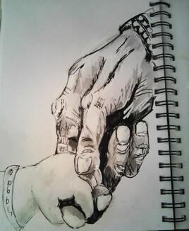 mains avec bébé