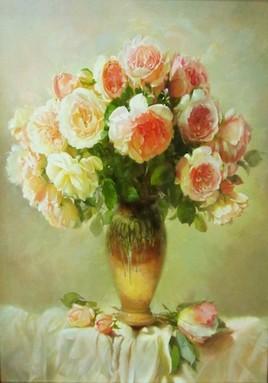 Roses sur fond clair