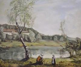 VILLE D'AVRAY, l'étang au bouleau devant les villas