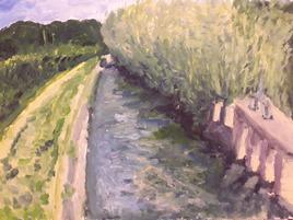 Paysage, canal avec roseaux