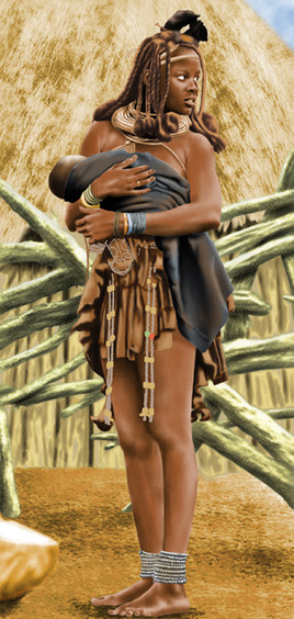 Himba girl with baby