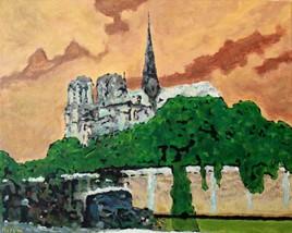 Acrylique sur toile : La Seine et Notre-Dame, ciel ocre