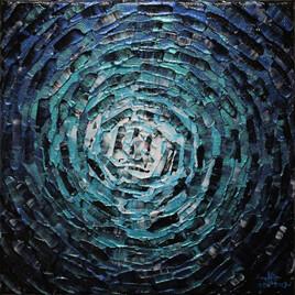 Peinture moderne : Petit éclat de lueur bleue grise iridescente.