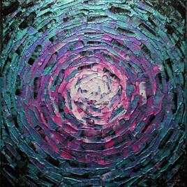 Peinture moderne : Petit éclat de lueur rose bleue iridescente.