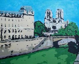 Acrylique sur toile : La Seine, les quais et Notre-Dame
