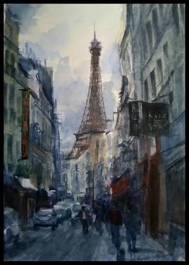 Rue avec vue sur la tour Eiffel...
