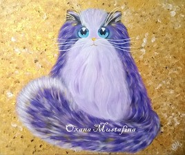 """Peinture acrylique Chat """"Mademoiselle Lily Violette"""""""