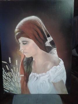 Jeune fille a la gerbe  de blé
