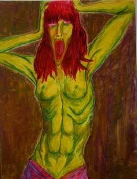 cri de la femme en vert