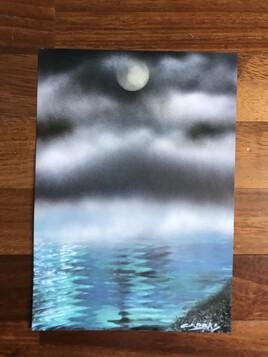 Mer nocturne sous ciel nuageux