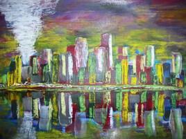 VILLE LUMIERE par artiste peintre contemporain AARON SZYJKA