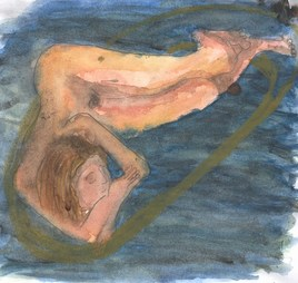Femme rêvant dans son bain