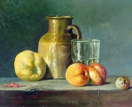 pichet cuivre et fruits