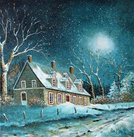 La vieille maison de pierre sous la neige