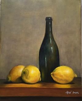 nature morte à la bouteille et aux citrons