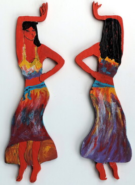 madamoiselle Maguelone figurine bois découpé JfG  Jean-François Gantner
