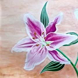 Expo métro - Londres : Lys rose en fleur / Painting Pink lily in bloom at London Metro Expo
