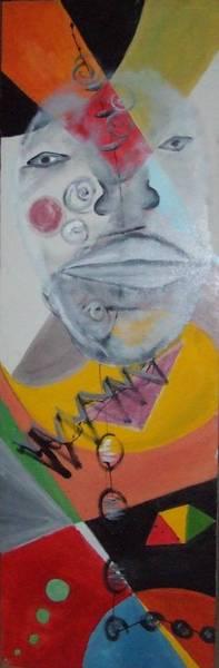 Tableau d'art africain ; CLOWN