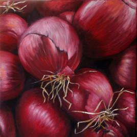 Des oignons rouges pour Catherine et Philippe (huile sur toile)