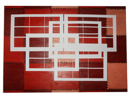 rectangles blancs sur fond rouge